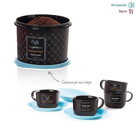 Tupperware Par Perfeito Caixa Café Bistro 700g + 4 Xícaras 150ml cada kit 5 peças