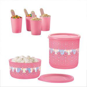 Tupperware Refri Line + Mini Copinhos Docinho Kit 6 peças Rosa
