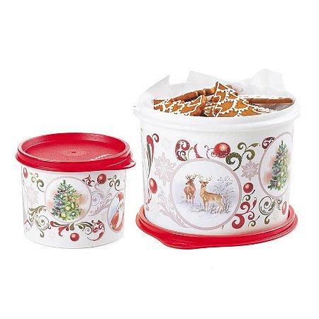 Tupperware Redondinha Natal + Caixa Natal Kit 2 Peças