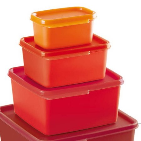 Tupperware Basic Line Kit 3 Peças Vermelho e Laranja