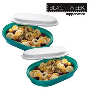 Tupperware Travessa Oval Actualité 2 litros kit com 2 peças Verde