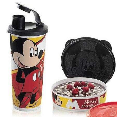 Tupperware Mickey  Copo 470ml + Mickey Pratinho 500ml Kit 2 Peças Preto e Branco