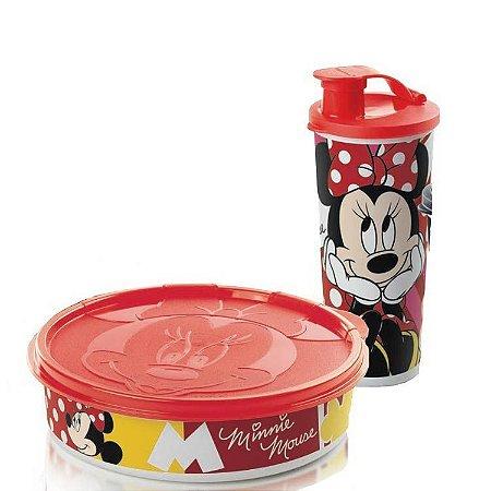 Tupperware Minnie Copo 470ml + Minnie Pratinho 500ml kit 2 Peças Branco e Vermelho