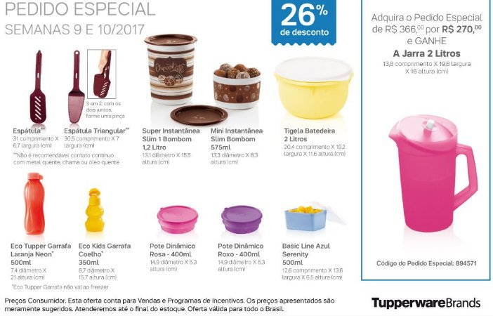 Tupperware Pedido Especial 10 produtos + 1 Grátis 03/2017