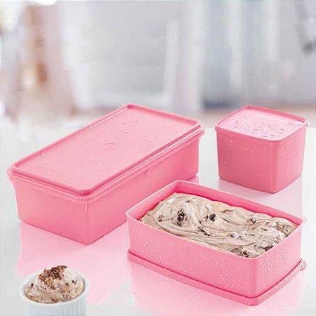 Tupperware Caixa Ideal 1,4 Litros + Jeitoso 900ml + Maxi Caixa 2,5 Litros Rosa Quartzo Kit 3 Peças