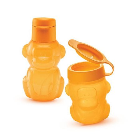 Tupperware Eco Kids Macaco 350ml + Porta Snack Kids 300ml Kit 2 Peças Laranja