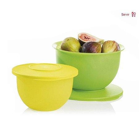 Tupperware Par Perfeito Tigela Murano 1,3 Litros + 2,5 Litros Verde e Amarela