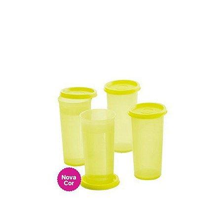 Tupperware Copo 265ml Amarelo Neon Kit 4 Peças