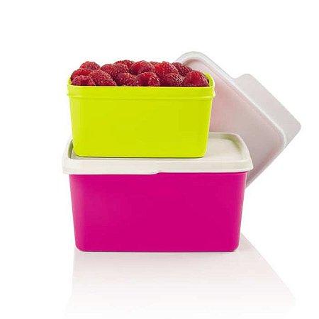 Tupperware Kit Basic Line 500ml Amarelo Neon + 1,2 litro Rosa Neon kit 2 peças