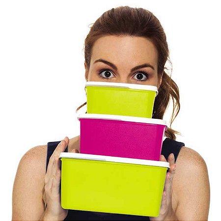 Tupperware Basic Line Kit 3 peças Rosa e Amarelo Neon