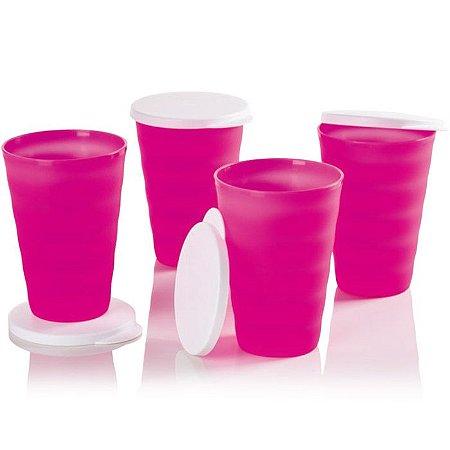 Tupperware Copos Murano Rosa Neon 500ml kit 4 peças