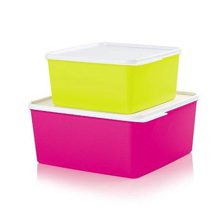 Tupperware Basic Line Neon kit 2 peças 5 litros + 2,5 litros