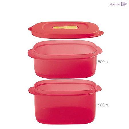 Tupperware Cristalwave Quadrado Geração II Vermelha 500 + 800ml
