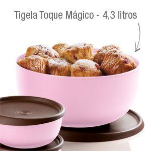 Tupperware Tigela Toque Mágico 4,3 litros Rosa e Marrom