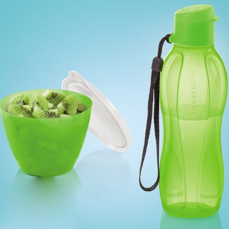 Tupperware Eco Tupper Garrafa Plus 500ml + Caçulinha Verde Neon 400ml