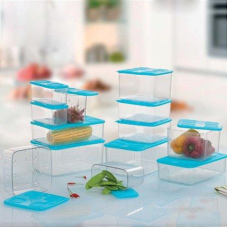 Tupperware Clara Smart Transparente e Azul kit 13 peças