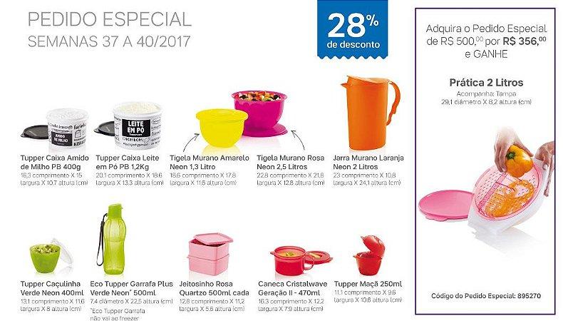 Tupperware Pedido Especial 10 peças + Prática 2 litros Grátis rosa 10/2017