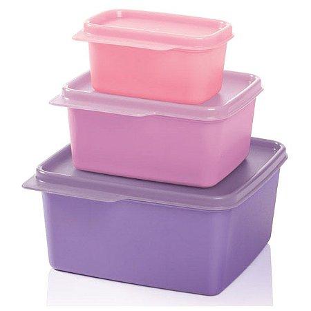 Tupperware Basic Line Kit 3 peças Rosa e Lilás