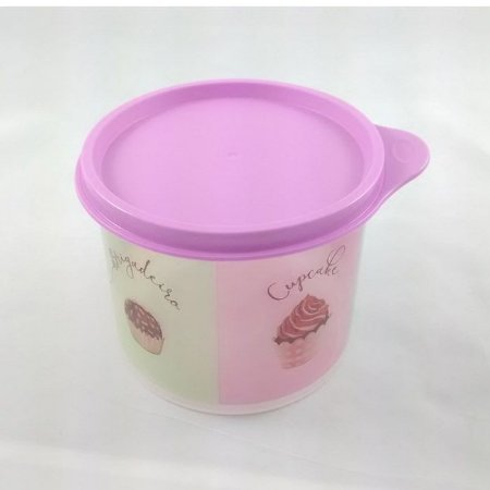 Tupperware Redondinha Chocolate Rosa e Transparente 500 ml