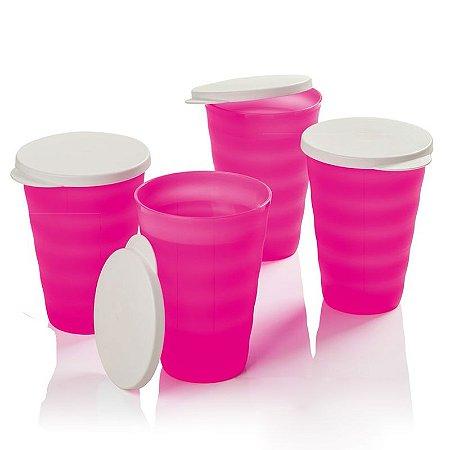 Tupperware Copo Murano 500ml Rosa Neon kit 4 peças