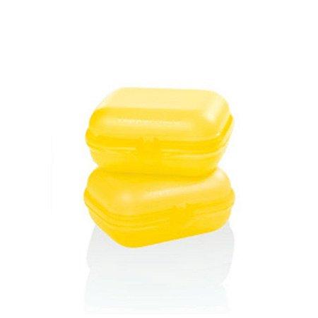 Tupperware Snack Médio Amarelo Girassol Kit 2 peças