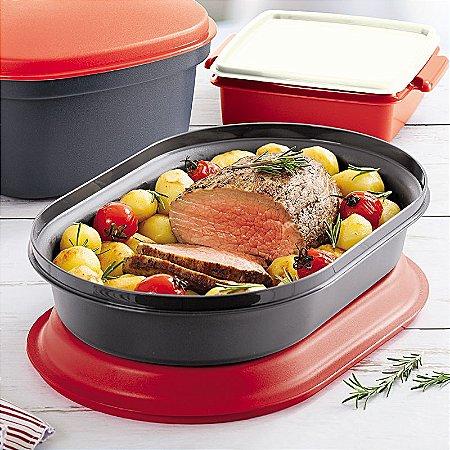 Tupperware Travessa Oval Actualité 2 litros Preto e Vermelho
