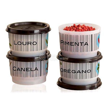 Tupperware Potinho para Tempero 140ml 4 peças Louro Canela Orégano Pimenta