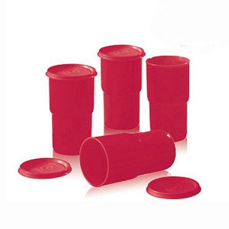 Tupperware Copos Colors Vermelho kit 4 peças