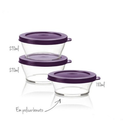 Tupperware Tigela Clear 290ml + 180ml Roxa