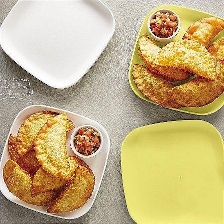 Tupperware Prato #Post-Me Branco e Amarelo kit 4 peças
