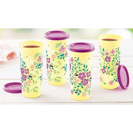 Tupperware Copos Flores do Campo 370ml kit 4 peças