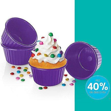 Tupperware Micro Cook Cupcake Roxo 4 peças