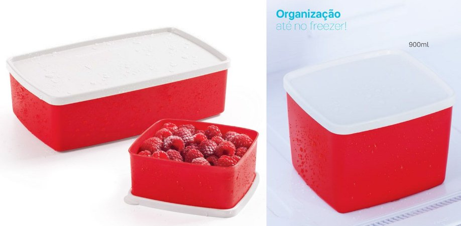 Tupperware Caixa Ideal Vermelho 1,4 litro + Jeitoso 800ml + Jeitosinho 400ml