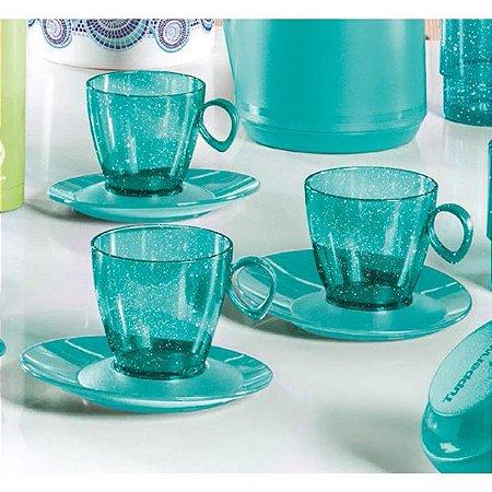 Tupperware Xícara Design com Gliiter 180ml Verde 3 peças