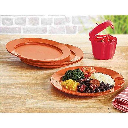 Tupperware Prato Outdoor Laranja Kit 4 peças