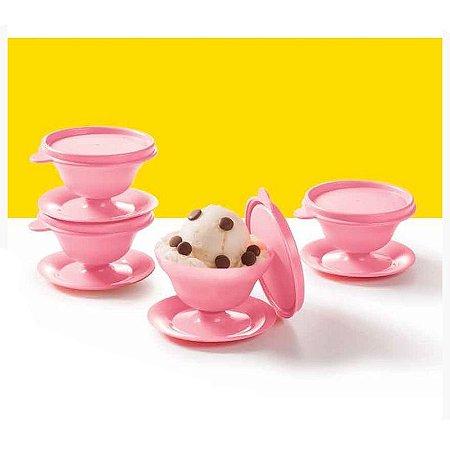 Tupperware Tacinha para Sobremesa Rosa kit 4 Peças