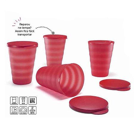 Tupperware Copo Murano Marsala Kit 4 peças