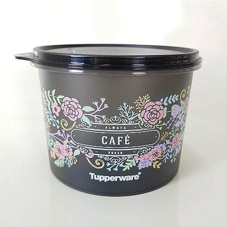 Tupperware Caixa Café Preta Flores 700g