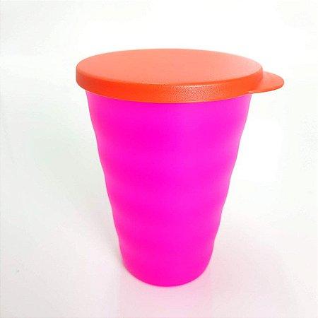 Tupperware Copo Murano 500ml Rosa Neon com Tampa Laranja