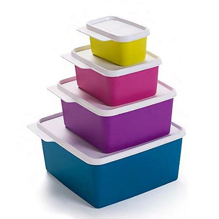 Tupperware Kit Basic Line Coloridas 4 peças