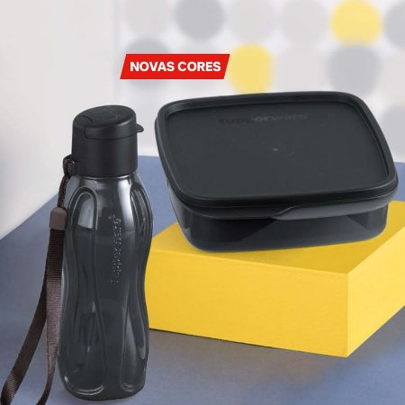 Tupperware Eco Tupper Garrafa Plus 310ml + Basic Line com Divisórias 550ml Preto