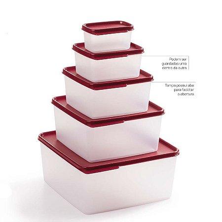 Tupperware Basic Line Marsala Kit 5 peças