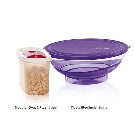 Tupperware Tigela Elegância 1,5 litro + Modular Oval 2 Plus 1,1 litro