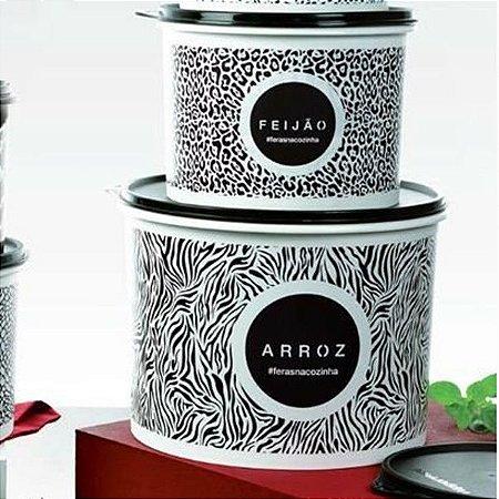 Tupperware Caixas Animal Print Preto e Branco Arroz + Feijão