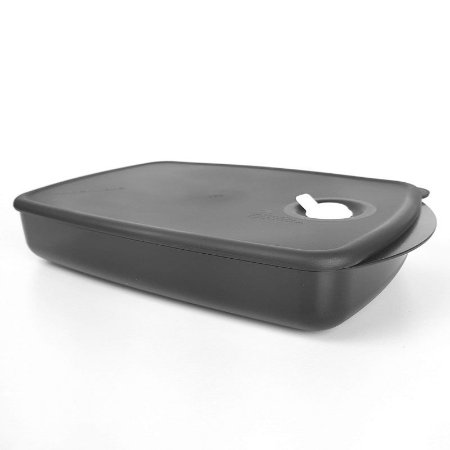 Tupperware Cristalware Retangular Preto Policarbonato 1,4 litro
