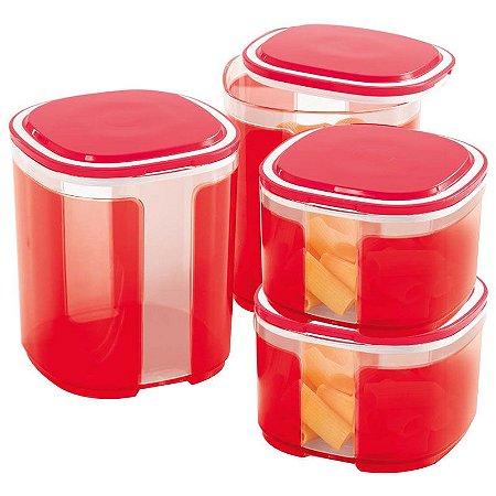 Tupperware Pote Visual Kit 4 peças Vermelho