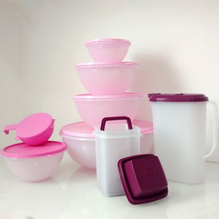 Tupperware Kit BEA Maravilhosa Nível 3 Rosa e Roxo 8 Peças