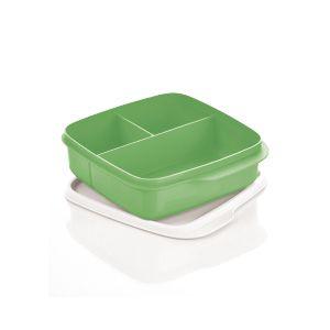 Tupperware Basic Line com Divisórias 550ml Verde Tampa Branca