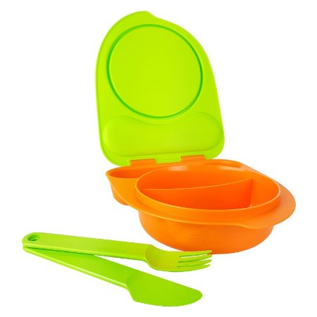 Tupperware Pratinho Infantil com Talher 500ml Laranja e Verde