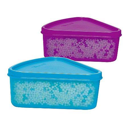 Tupperware Refri Box Triangular kit 2 peças Roxo e Azul 250ml